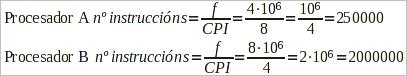 Calculo do numero de instruccions que executa un procesador