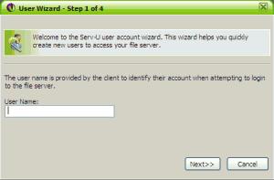 Asistente usuarios Serv-U paso 1 de 4