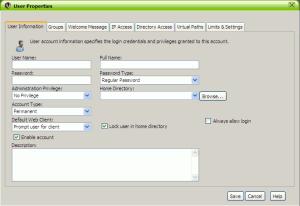 Formulario creación usuario Serv-U