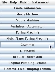 Creando gramática JFlap