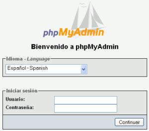Ventana Login PhpMyAdmin
