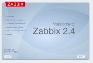 zabbix instalation screen