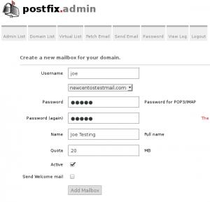 postfixadmin create mailbox