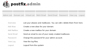 postfixadmin main screen